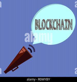 Wort schreiben Text Blockchain. Business Konzept für Digitale hauptbuchtransaktionen sind in cryptocurrencies gemacht. - Stockfoto