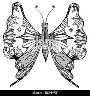 Vektor Illustration Der Schmetterling Tribal Zeichnen Auf Weißem