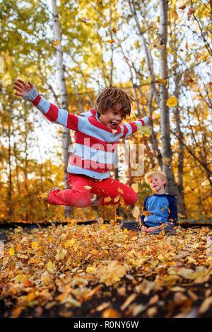 Junge beobachten, seinen Bruder Springen auf einem Trampolin im Herbst die Blätter fallen, Vereinigten Staaten - Stockfoto