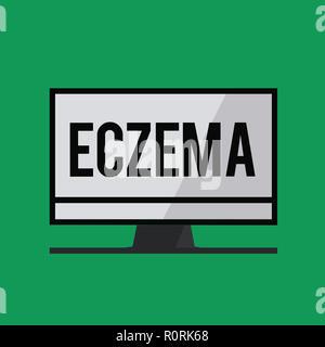 Schreiben Hinweis Ekzem zeigt. Business foto Präsentation Hautzustand, der durch juckende und entzündeter Atopische Dermatitis gekennzeichnet. - Stockfoto