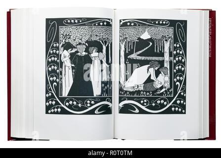 Le Morte d'Arthur von Sir Thomas Malory. Abbildung, wie Sir Lancelot bekannt von Dame Elaine wurde von Aubrey Beardsley - Stockfoto
