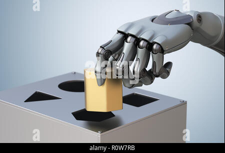 Roboterhand mit Logic. 3D-Illustration, - Stockfoto