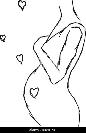 Schwarze und weiße Silhouette einer schwangeren Frau - Stockfoto