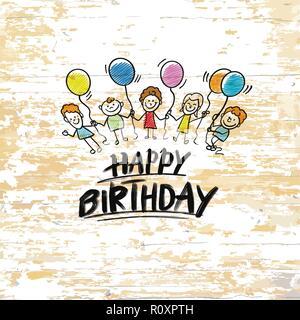Happy birthday mit Zicklein auf Holz- Hintergrund. Vector Illustration von Hand gezeichnet. - Stockfoto