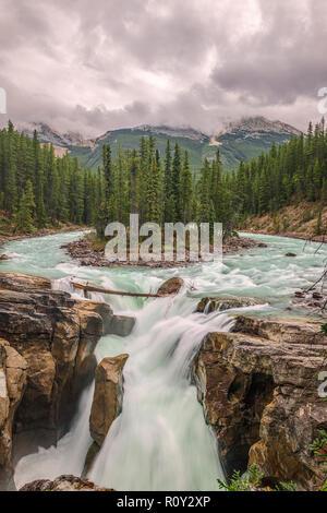 Sunwapta Fall ist ein spektakulärer Wasserfall der Sunwapta River im Jasper National Park, Alberta, Kanada. - Stockfoto
