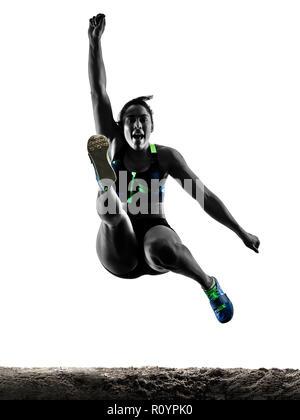 Eine afrikanische Sportler leichtathletik Weitsprung Frau auf weißem Hintergrund silhouette isoliert - Stockfoto