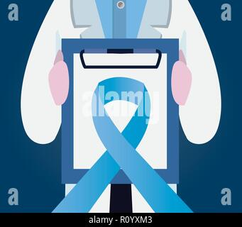 Movember tag Mann mit Zwischenablage Blue Ribbon Vector Illustration - Stockfoto