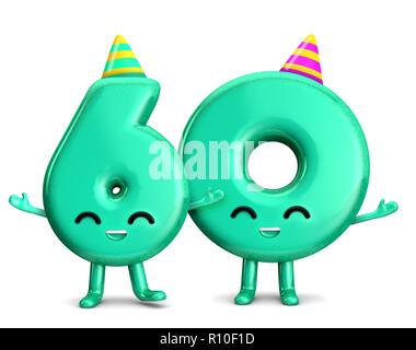 Geeiste Geburtstagstorte Happy 60th Birthday Niedlichen Charakter Mit Hut 3D Rendering