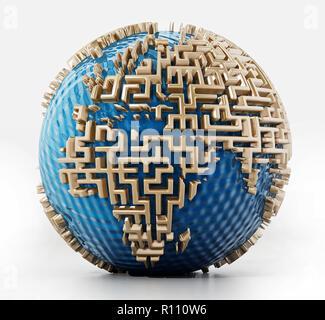 Globus mit Labyrinth Wände wie die Kontinente. 3D-Darstellung. - Stockfoto