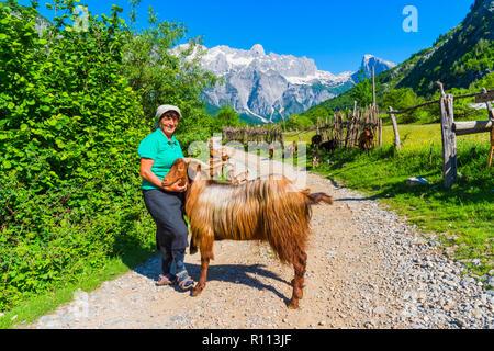 Schäferin und ihre Ziegen, Thethi Dorf Thethi Tal, Albanien - Stockfoto