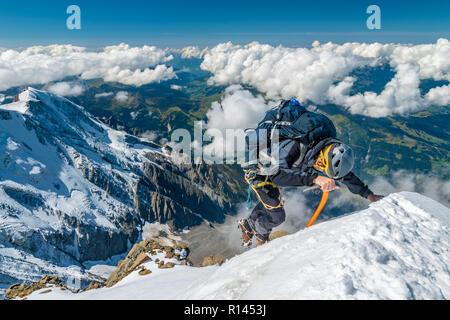 Extreme Alpinisten in großer Höhe auf die Aiguille de Bionnassay Mountain Summit, Mont Blanc Massiv, Alpen, Frankreich - Stockfoto