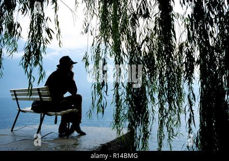 Frau mit Hut sitzt unter einer Trauerweide Baum entlang der Seite der See, Chiemsee, Oberbayern, Deutschland - Stockfoto