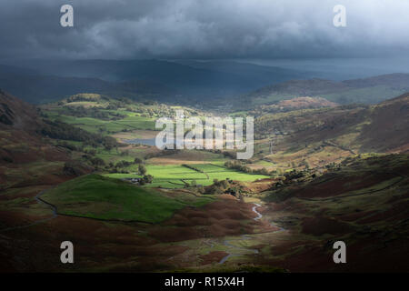 Little Langdale valley von Wrynose Pass - Stockfoto