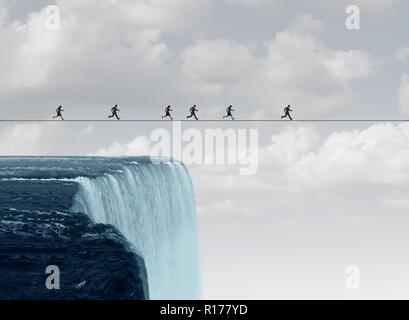 Business Group Risk auf einem Seil oder High Wire über einen Wasserfall in einem 3D-Illustration Stil. - Stockfoto