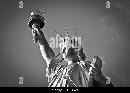 Die Freiheitsstatue, Liberty Island - Willkommen in New York City. Dies ist New York, USA - Stockfoto