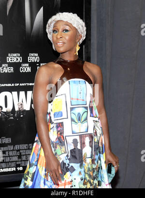 NEW YORK, NY - 11. NOVEMBER: Cynthia Erivo der Twentieth Century Fox Screening von Windows besucht am 11. November an der Brooklyn Academy of Music in Brooklyn, New York. Credit John Palmer/MediaPunchNEW YORK, NY - 11. NOVEMBER: Cynthia Erivo der Twentieth Century Fox Screening von Windows besucht am 11. November an der Brooklyn Academy of Music in Brooklyn, New York. Credit John Palmer/MediaPunch - Stockfoto