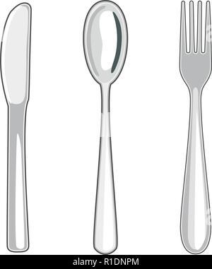 Vektor metall Messer, Löffel und Gabel auf weißem Hintergrund. Sammlung von Speisen utensil Symbole - Stockfoto