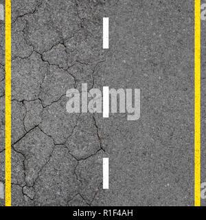 Einfach oder schwer Konzept. Blick von oben auf Asphalt unterwegs mit Autobahn Linie markiert für den Straßenverkehr Hintergrund. - Stockfoto