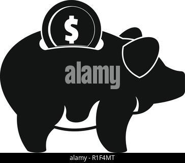 Schwein geld Symbol. Einfache Abbildung von Schweine geld Vektor Symbol für Web - Stockfoto
