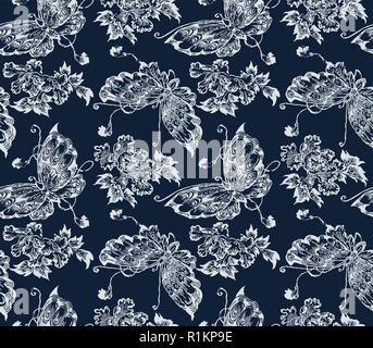 Indigo dye nahtlose Schablone Muster, traditionelle Japanische katazome Motiv mit Schmetterlingen und Pfingstrose Blüten. Auf marine blau hintergrund Ecru. - Stockfoto
