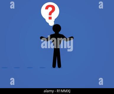 Mann über eine Lösung zu einer Frage, Mann und Fragezeichen Vektor-illustration denken Stick - Stockfoto