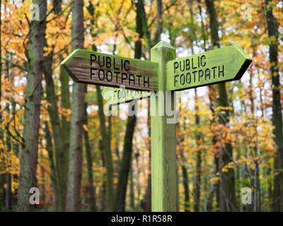 Öffentlichen Fußweg Wegweiser im Herbst Wald an Hainbuche Park Harrogate, North Yorkshire England - Stockfoto