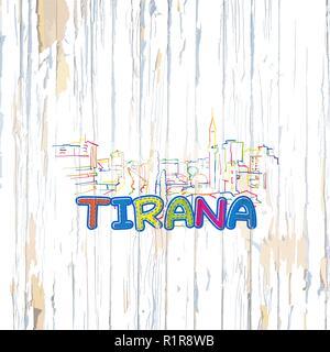 Buntes Tirana Zeichnung auf Holz- Hintergrund. Hand Vector Illustration gezeichnet. - Stockfoto