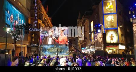 London, UK, 13.Nov, 2018, fantastische Tiere: Die Verbrechen von Grindelwald britische Premier London, UK. 13 Nov, 2018. Credit: Helen Cox/Alamy leben Nachrichten - Stockfoto