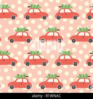 Vektor nahtlose Muster mit roten Auto und Weihnachtsbaum auf dem Dach. Vintage Christmas background mit retro Autos und Weihnachten Dekoration auf Rosa und Beige. Urlaub Design für Kinder, Stoff, Geschenkverpackung - Stockfoto