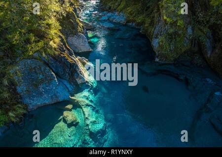 Berühmte turist Anziehung - Blue Pools, Haast Pass, Neuseeland, Südinsel - Stockfoto
