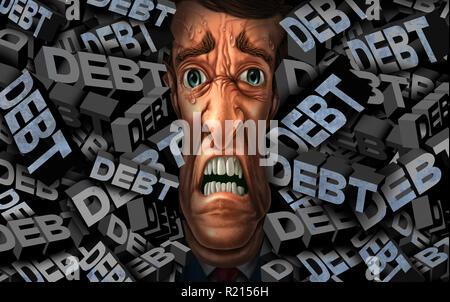 Finanzielle Schulden Stress und Geld management Probleme als Person mit Budget credit Druck als Business Konzept mit 3D-Illustration Elemente. - Stockfoto