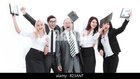 Happy Business Team heben die Hände, voll Freude. Das Konzept der Erfolg - Stockfoto