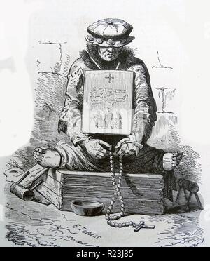 Abbildung eines Französischen mittelalterlichen aussätzig. Auf beiden Seiten von ihm sind die Hand, die Krücken, die verwendet würden, um die Aussätzigen anzutreiben. Außerdem ist er saß mit seinem Kopf nach unten und mit einem Hut bedeckt, ein Betteln Schild um den Hals und Rosenkranz in seine Hand. Vom 1800 - Stockfoto