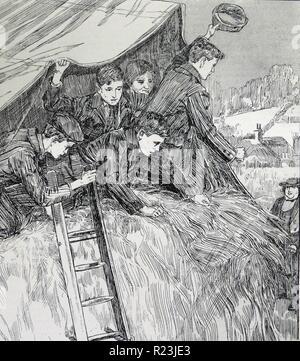 Abbildung aus einem Buch mit jungen knallend aus ihrem Unterschlupf um eine Verabschiedung Frau grüßen - Stockfoto