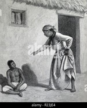 Abbildung aus einem Buch Darstellung ein schwarzen Jungen außerhalb einer schwarzen Frau Zuhause sitzen. Die Frau zeigt ihren Finger auf ihn will wissen, warum er dort ist. Datiert 1913 - Stockfoto