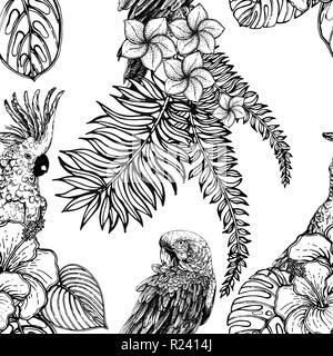 Nahtlose Muster von Hand gezeichnete Skizze Stil exotischen Blumen, Pflanzen und Vögel auf weißem Hintergrund. Vector Illustration. - Stockfoto