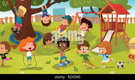 Gruppe von Kindern, die Spiel auf einem öffentlichen Parkplatz oder in der Schule Spielplatz mit Schaukeln, Rutschen, skate, Kugel, Buntstifte, Seil, spielen Catch-up Spiel. Glückliche Kindheit. Moderne Vector Illustration. Clipart. - Stockfoto