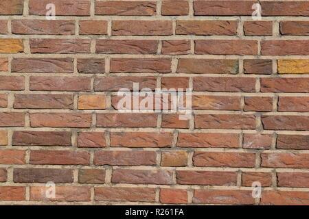 Old Red Brick Wall, die Anzeichen von Alter und Verfall Mörtel. - Stockfoto