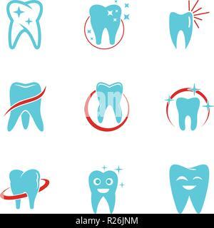 Zahnmedizinische Klinik Symbole gesetzt. flachbild Set von 9 zahnmedizinische Klinik Vector Icons für Web auf weißem Hintergrund - Stockfoto