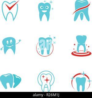 Zahnmedizinische Symbole gesetzt. flachbild Set von 9 zahnmedizinische Vector Icons für Web auf weißem Hintergrund - Stockfoto