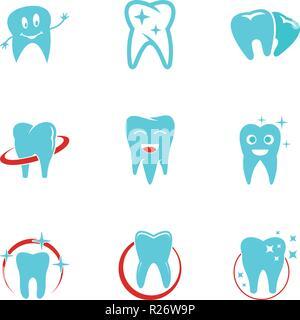 Zahnärztliche Poliklinik Symbole gesetzt. flachbild Set von 9 zahnärztliche Poliklinik Vector Icons für Web auf weißem Hintergrund - Stockfoto
