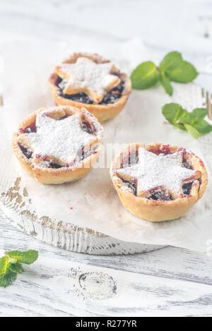 Mince Pies - traditionelle weihnachtliche Gebäck - Stockfoto