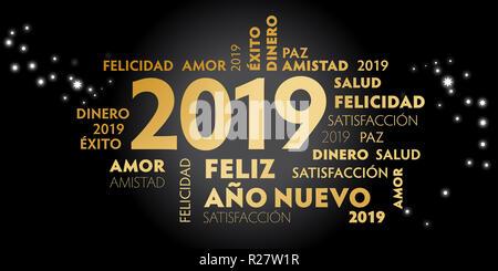 """Frohes Neues Jahr die Spanische Sprache Grußkarte mit spanischen Motto """"Feliz año Nuevo' und die guten Wünsche für das neue Jahr. Schwarzer Hintergrund und golden Text - Stockfoto"""
