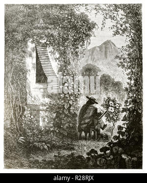 Alte Illustration der typischen Jalousie in der Peruanischen Haus. Von Riou, Publ. Bei le Tour du Monde, Paris, 1863 Stockfoto
