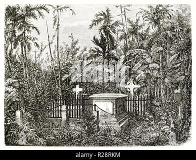 Alte Ansicht der protestantischen Friedhof in Bangkok, Thailand. Durch Catenacci, Publ. Bei le Tour du Monde, Paris, 1863 - Stockfoto