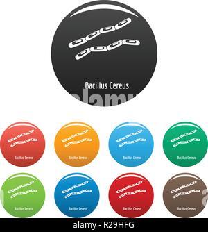 Bacillus cereus-Symbol. Einfache Abbildung von Bacillus cereus Vector Icons Set Color isoliert auf weißem - Stockfoto