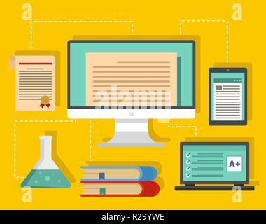 Art des Lernens Hintergrund. Flache Darstellung der Art des Lernens vector Hintergrund für Web Design - Stockfoto