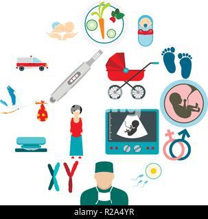 Schwangerschaft flachbild Symbole für Web und mobile Geräte - Stockfoto