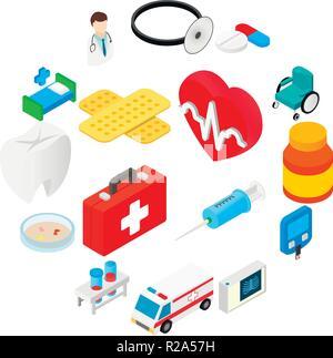 Medizinische isometrische 3D-Symbole. Der farbige Icons auf weißem Hintergrund - Stockfoto
