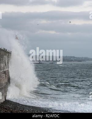 Newlyn, Cornwall, UK. 18 Nov, 2018. UK Wetter. Kalte Winde mit über 45 mph, direkt aus dem Osten drängen Wellen über den Hafen Mauer bei Newlyn Harbour heute Morgen, wie Temperaturen gestartet aus der jüngsten Höhen zu fallen. Foto: Simon Maycock/Alamy leben Nachrichten - Stockfoto